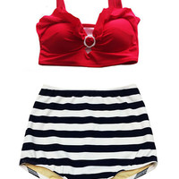 Red Top and White Navy Blue Stripe High Waisted Waist Shorts Bottom Swimsuit Swimwear Bikini set 2PC Swim Sailor Bathing suit suits wear S M