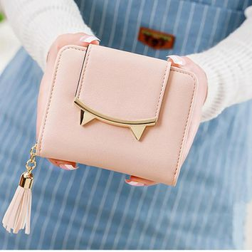 Cute Cat PU Leather Tri-fold Mini Wallet