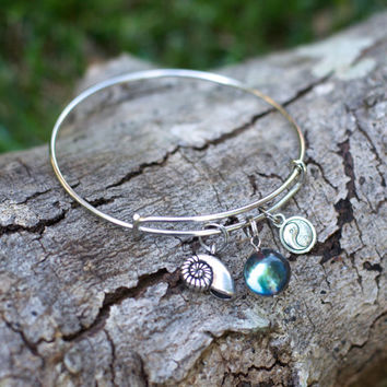 Zen Bangle Charm Bracelet, Alex and Ani Yoga Charm Bracelet, Yen Yang Bracelet, Fibonacci Spiral Shell Jewelry, Yogi Alex and Ani Bracelet