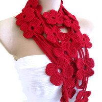 Flower Lariat Scarf, Red  with crochet flower patterns , hand-made,fashion,gift, mothers day,unique