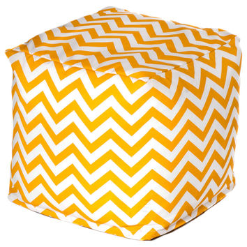 Chevron Outdoor Cube, Yellow, Outdoor Poufs