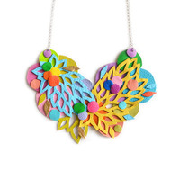 Colorful Rainbow Hand Cut Leather Statement Necklace with Floral Leaf Patterns and Circles | Boo and Boo Factory - Handmade Leather Jewelry
