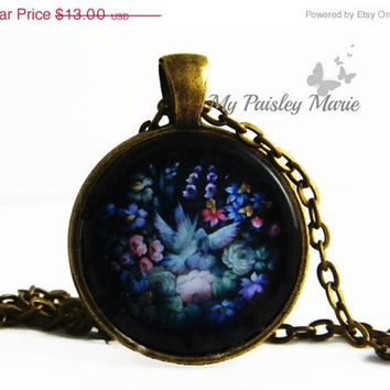CIJ Sale Russian Folk Art Necklace Pendant , Flower Necklace , Glass Art Pendant , Picture Pendant , Photo Pendant