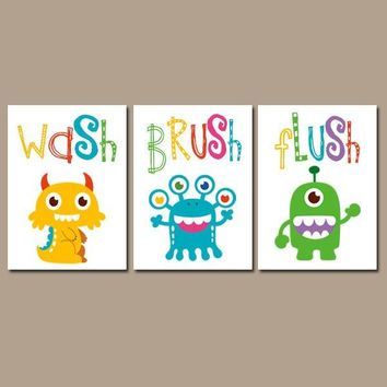 Monster BATHROOM Wall Art, CANVAS or Prints Wash Brush Flush, Monsters Theme Bathroom Decor, Boy Girl Kid Bathroom Decor Set of 3 Wall Decor