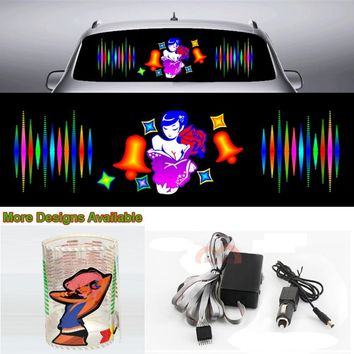 Rose Beauty Girl Car Sticker Music Rhythm Flash Light Sound Activated Equalizer 90cm*25cm 35.4in*9.84in