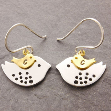 Mom and Daughter Earring, silver bird earring, mothers jewelry, mother daughter, personalized earring, love birds, baby bird earring, ER