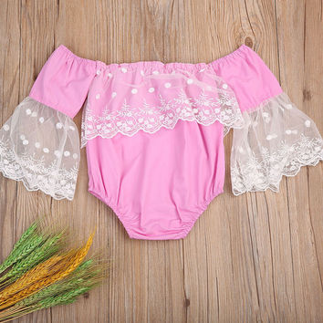 Pink Newborn Baby Girl Lace Romper Flare Sleeve Off Shoulder