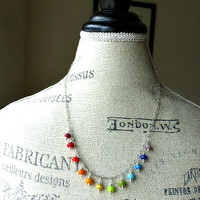 Lampwork glass and  sterling silver necklace.