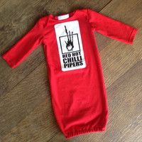 Red Hot Chili Peppers baby sleeper gown - upcycled adult shirt-unisex baby-