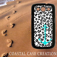 Leopard Turquoise Anchor Samsung Galaxy S3 Hard Plastic or Rubber Cell Phone Case Cover Original Design