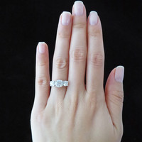 2.25 carat Round 3 Stone Engagement Ring, Man Made Diamond, Promise Ring, Wedding, Bridal, Sterling Silver, Size 6-9