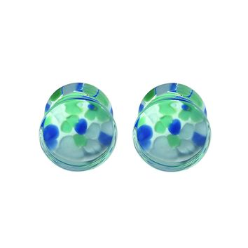 BodyJ4You Plugs Glass Saddle Multicolor Pebble Earrings Stretching Set 0G 8mm Body Piercing Jewelry