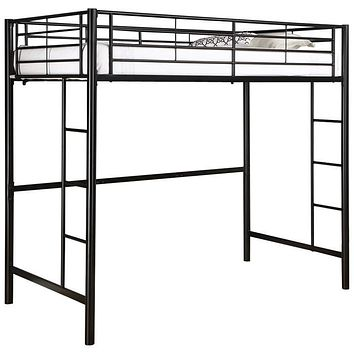 Tubular Steel Twin Size Loft Bunk Bed in Black