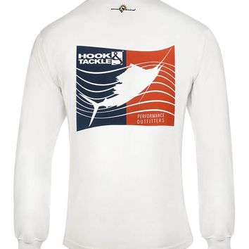 Men's Sails & Stripes L/S UV Fishing T-Shirt