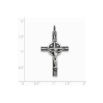 Sterling Silver Antiqued, Textured And Polished Inri Crucifix Pendant