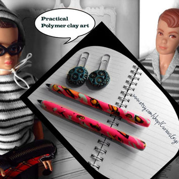 Pen and paper clip set black ink Polymer clay art  pink orange yellow black blue tones