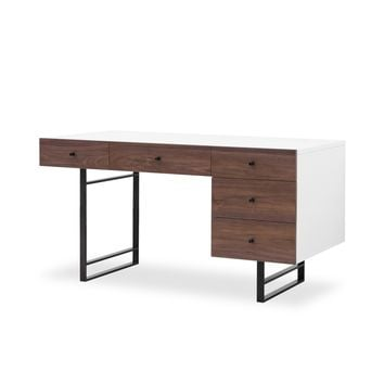EVON DESK-WHITE LACQUER/WALNUT