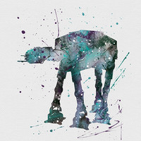 AT-AT Walker Star Wars Watercolor Art
