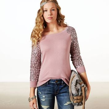 AE Sequin Sleeve Crew Sweater | American Eagle Outfitters