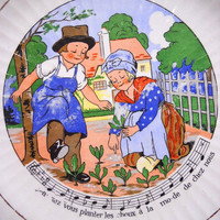 Vintage French Nursery Rhyme/ Song Plate Made in France avez vous planter les choux a la mode de chez nous