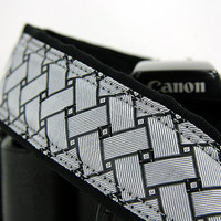 Silver Basketweave Camera Strap, dSLR, Silver, Black, SLR, 184 w