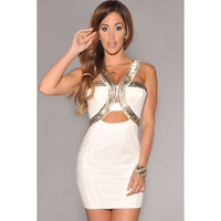 White Silver Cut-Out Club Mini Dress Sale LAVELIQ