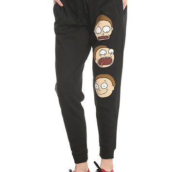 Rick And Morty Face Print Morty Girls Jogger Pants
