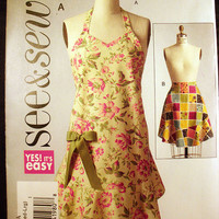 Full and Half Apron Sizes Small, Medium, Large Sewing Pattern Butterick See & Sew B5125