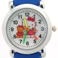 TimerMall Hello Kitty Pattern Dark Blue Band Water Resistant Children's Watches