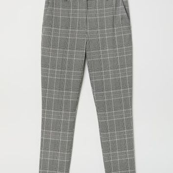 Stovepipe Pants - Black/white checked - Ladies | H&M US