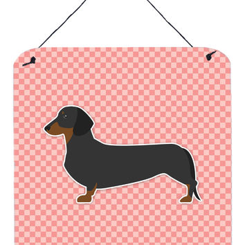 Dachshund Checkerboard Pink Wall or Door Hanging Prints BB3582DS66