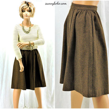Vintage 60s skirt / size XS / 3 / 5  / wool hounds tooth skirt / 1960s handmade skirt / brown wool midi A line skirt