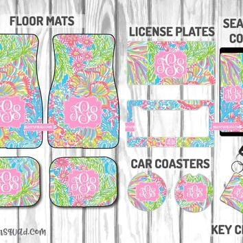 Lilly Pulitzer Lover's Coral Car Mat /Plate & Frame / Seat belt cover / Key Chain / Car Coaster / Car Accessory Gift  Set