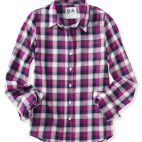 PS from Aero  Girls Long Sleeve Plaid Woven Shirt - Pink