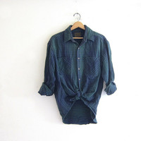 20% OFF SALE Vintage Plaid Flannel / blue and green Grunge Shirt / Button up shirt / Boyfriend flannel