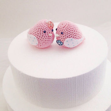Set of two Pink Birds amigurumi, Pink Crocheted Love Birds, Valentine Birds, Anniversary Cake Topper