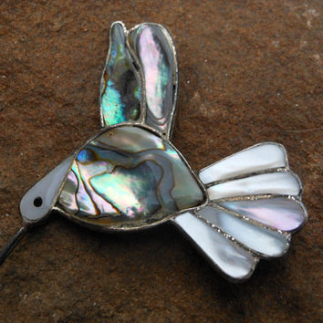 Alpaca Mexico Silver Hummingbird Brooch Abalone Jewelry Mother Of Pearl Pin 1960s Flying Bird Figure Nature Art Vintage Accessory In Flight