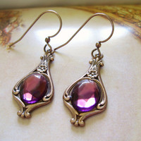 Amethyst purple crystal dangle copper earrings - Baroque Renaissance Victorian Harry Potter Narnia - women gift for her