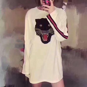 GUCCI Fashion Long Sleeve Cat Embroider Side Sleeve Stripe Splicing Sweater G-A-XYCL