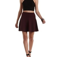 Oxblood Solid Paneled Skater Skirt by Charlotte Russe