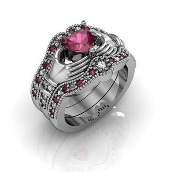 Claddagh Ring - Sterling Silver Created Ruby Love and Friendship Engagement Ring Trio Set