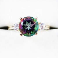 14k Yellow Gold Mystic Topaz and CZ Ring