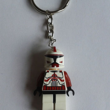 Star Wars red clone Trooper minifigure keychain keyring made with LEGO® bricks