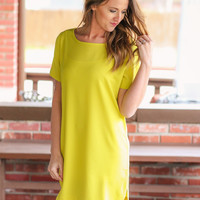One and Only Shift Dress - Chartreuse