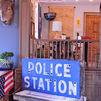 Vintage Police Station Neon Sign, Double Sided Neon Sign, Industrial Decor, Ottawa Illinois