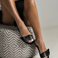 """Black mule sandals """"narcissus"""" greek ancient sandals style wings of the hermes"""