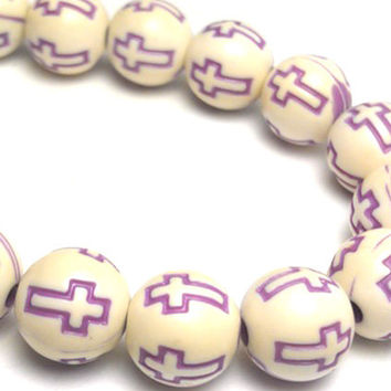 40 Purple and Off White Cross Beads 8mm Beads - Round Cross Beads B1281