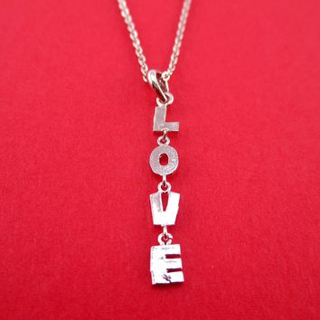 Dangling L. O. V. E. Love Letters Shaped Pendant Necklace in Silver