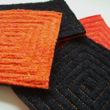 Halloween Coasters ORANGE & BLACK Fall Coasters Recycled Mug Rugs by WormeWoole