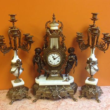French Mantel Neoclassical Louis XVI Clock 3 Pc Set Candelabras Putti Bronze White Marble Table Clock German Franz Hermle Floating Movement